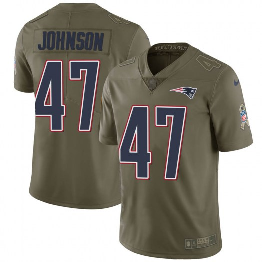 Nike Jakob Johnson New England Patriots Limited Green 2017 Salute to Service Jersey - Youth